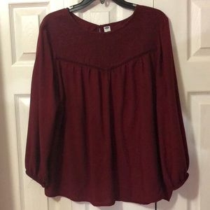 red women's dress blouse, is used